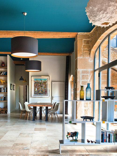 Inspiration pour une grande salle à manger ouverte sur le salon design avec aucune cheminée