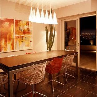 Immagine di una grande sala da pranzo minimal chiusa con pareti bianche, pavimento in ardesia e nessun camino