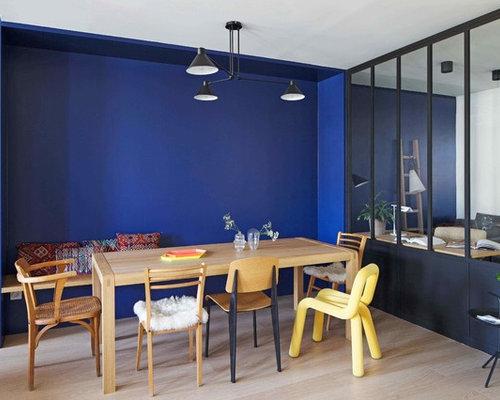 salle manger avec un mur bleu photos et id es d co de salles manger. Black Bedroom Furniture Sets. Home Design Ideas