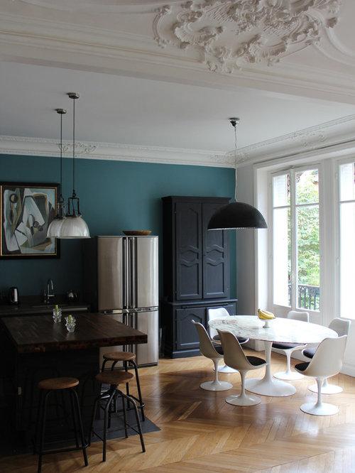 Images de d coration et id es d co de maisons mur bleu canard for Salle a manger bleu canard