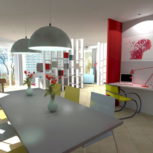 Inspiration for a scandinavian ceramic floor dining room remodel in Dijon with red walls
