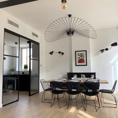 Mid-sized trendy light wood floor and beige floor great room photo in Marseille with white walls, a standard fireplace and a plaster fireplace