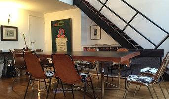 Table Noir et Fauve - Piètement inox