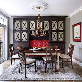 Idée de décoration pour une salle à manger victorienne de taille moyenne et fermée avec un mur gris, aucune cheminée et un sol en carrelage de céramique.