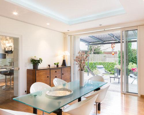Idée De Décoration Pour Une Salle à Manger Ouverte Sur Le Salon Design De  Taille Moyenne