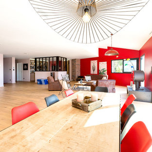 Huge trendy light wood floor great room photo in Montpellier with red walls and a wood stove