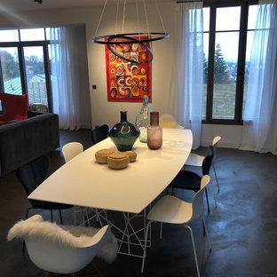 Immagine di una grande sala da pranzo aperta verso il soggiorno eclettica con pareti bianche, pavimento in cemento, pavimento verde e camino classico