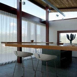 Inspiration pour une grande salle à manger ouverte sur le salon design avec un mur blanc, un sol en carrelage de céramique et aucune cheminée.