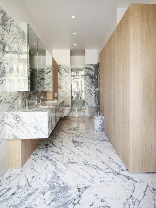 Salle de bain avec un WC suspendu : Photos et idées déco de salles ...