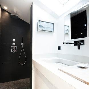 Cette image montre une salle d'eau design.