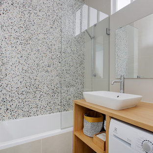 75 Beautiful Terrazzo Floor Bathroom With Brown Cabinets