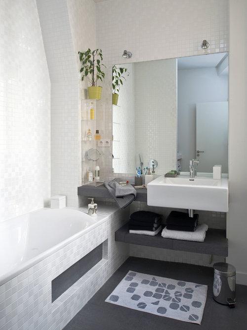 Salle de bain avec un sol en ardoise photos et id es - Carrelage salle de bain gris et blanc ...