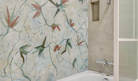 Focus Matière : Du papier peint dans la douche et en cuisine
