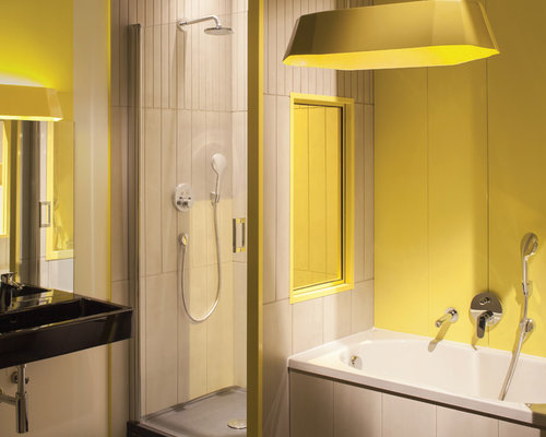 Bathroom design ideas renovations photos with a wall - Bathrooms with yellow walls ...