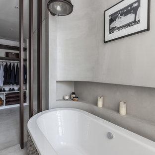 Idees Deco Pour Une Salle De Bain Principale Contemporaine Taille Moyenne Avec Baignoire Independante