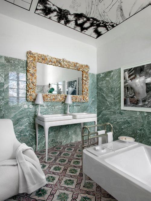badezimmer mit gr nen fliesen und steinplatten ideen. Black Bedroom Furniture Sets. Home Design Ideas