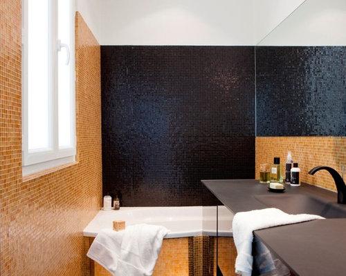 salle de bain avec un carrelage jaune photos et id es d co de salles de bain. Black Bedroom Furniture Sets. Home Design Ideas