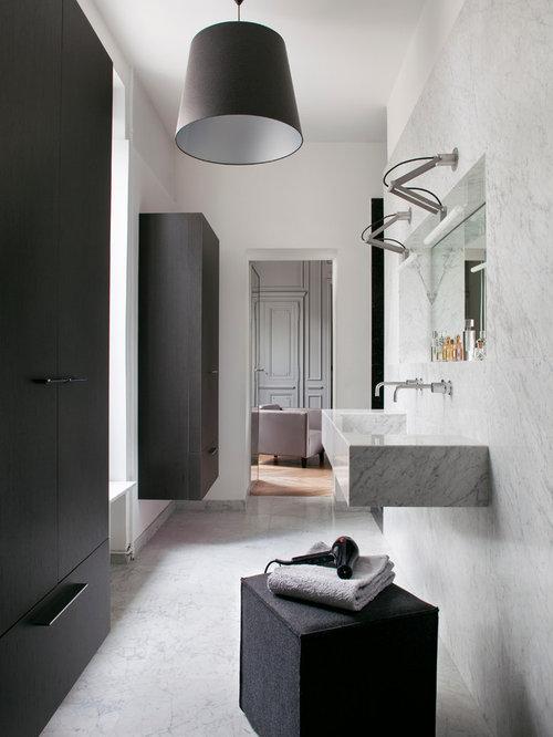 salle de bain avec un plan de toilette en marbre photos et id es d co de salles de bain. Black Bedroom Furniture Sets. Home Design Ideas