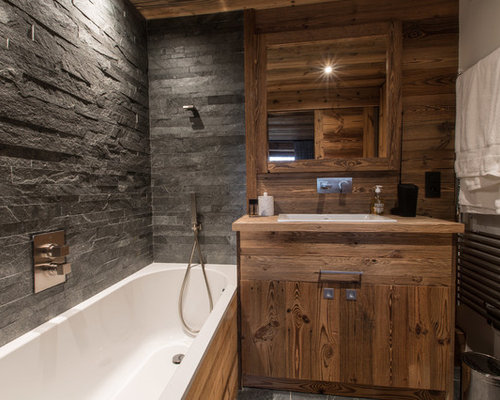 salle de bain montagne avec un carrelage de pierre photos et id es d co de salles de bain. Black Bedroom Furniture Sets. Home Design Ideas