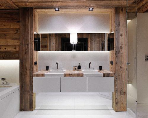 Salle De Bain Avec Un Carrelage Blanc Photos Et Idées Déco De - Carrelage blanc salle de bain