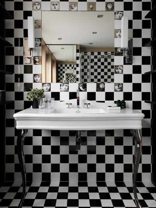 Salle de bain avec un carrelage noir et blanc photos et id es d co de salles de bain Tableau salle de bain noir et blanc