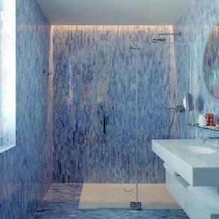 Salle de bain avec un carrelage bleu : Photos et idées déco de ...