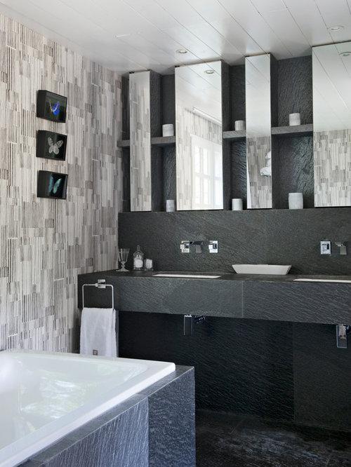 ides dco pour une salle de bain principale contemporaine de taille moyenne avec un carrelage gris - Salle De Bain Photos