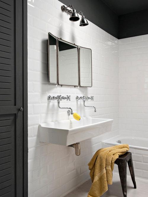 salle de bain avec un carrelage m tro photos et id es d co de salles de bain. Black Bedroom Furniture Sets. Home Design Ideas