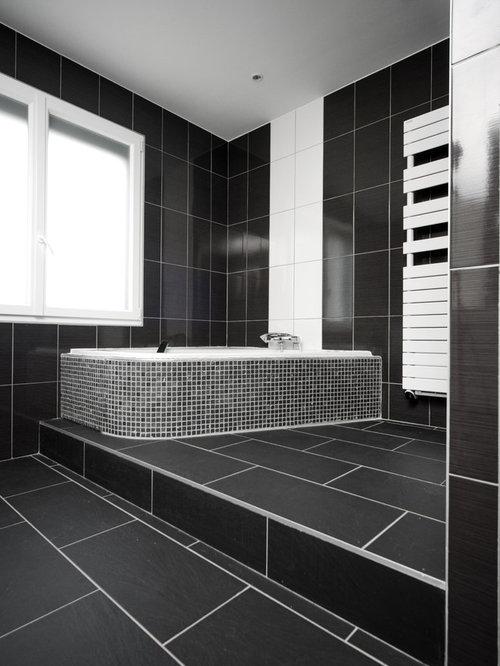 Salle de bain photos et id es d co de salles de bain - Salle de bain faience noire ...