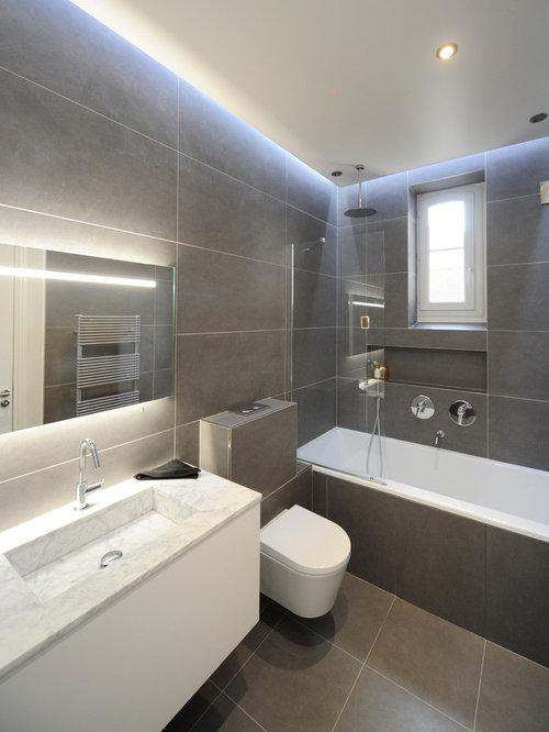 Salle de bain avec un carrelage gris photos et id es - Salle de bain avec carrelage gris ...