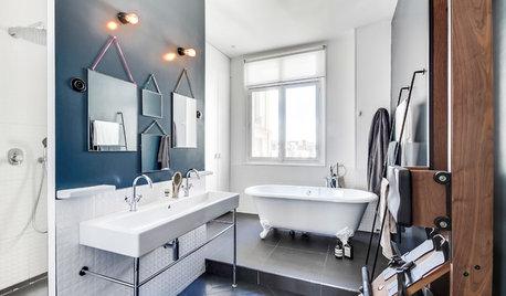 Les appliques industrielles s'invitent dans la salle de bains