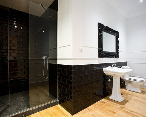 Inspiration For A Large Contemporary 3/4 Black Tile And Subway Tile Light  Wood Floor