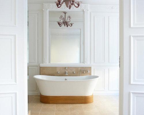 amnagement dune grande salle de bain principale classique avec une baignoire indpendante un - Modele Grande Salle De Bains Avec Spa