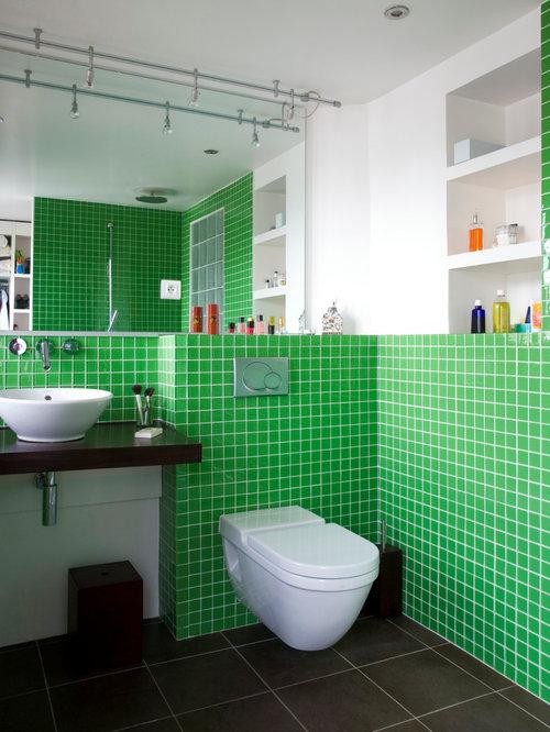 ... de bain avec un carrelage vert : Photos et idées déco de salles de