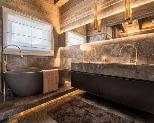 salle de bain avec un plan de toilette en marbre photos. Black Bedroom Furniture Sets. Home Design Ideas