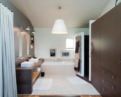 Salle de bain avec un sol en galet photos et id es d co de salles de bain - Placard d angle salle de bain ...