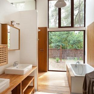 Salle de bain avec murs en bois : Photos et idées déco