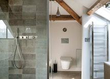 Where tile is used in shower and on floor?