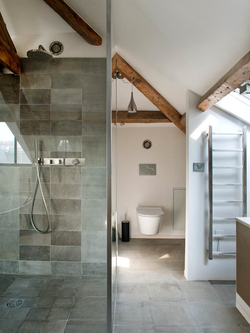 Large Trendy 3/4 Gray Tile And Cement Tile Concrete Floor Corner Shower  Photo In
