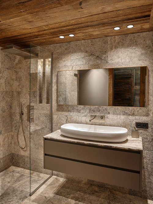 Best Rustic Bathroom with Gray Cabinets Design Ideas & Remodel Pictures | Houzz