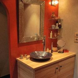Moroccan Mirror or lamp in a Bathroom -