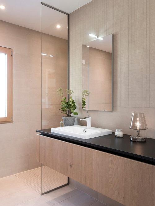 salle de bain avec un carrelage beige : photos et idées déco de ... - Salle De Bain Beige Et Bois