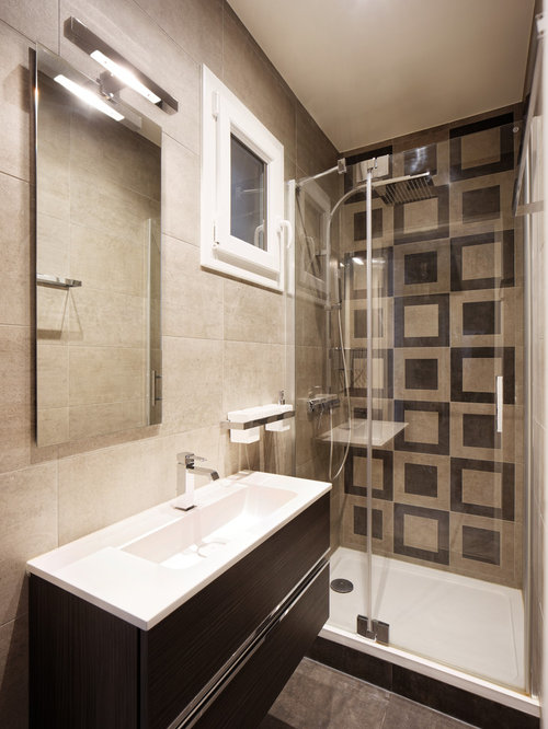 Bathroom design ideas renovations photos with black - Black and beige bathroom ...