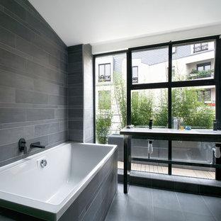 Salle de bain avec du carrelage en ardoise : Photos et idées déco de ...