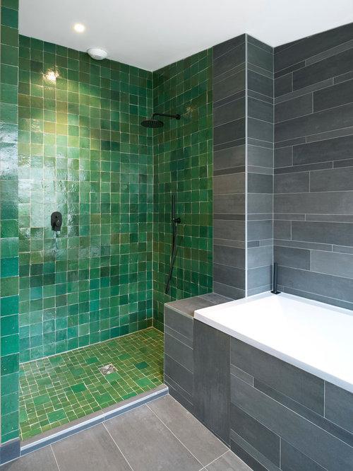 salle de bain avec un carrelage vert : photos et idées déco de ... - Carrelage Vert Salle De Bain