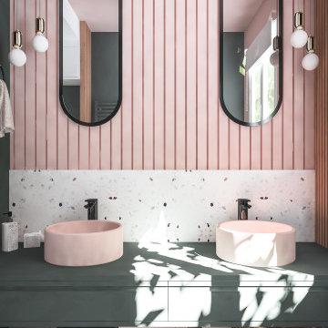 Perspective 3D rénovation de la salle de douche