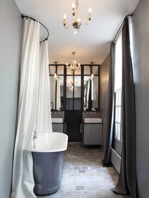 salle de bain avec un sol en carreau de terre cuite photos et id es d co de salles de bain. Black Bedroom Furniture Sets. Home Design Ideas