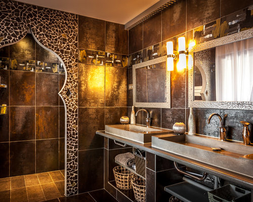 salle de bain avec un carrelage marron et des carreaux de c ramique photos et id es d co de. Black Bedroom Furniture Sets. Home Design Ideas
