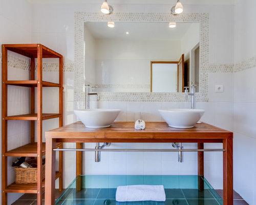 salle de bain avec une plaque de galets : photos et idées déco de ... - Galets Muraux Salle De Bain