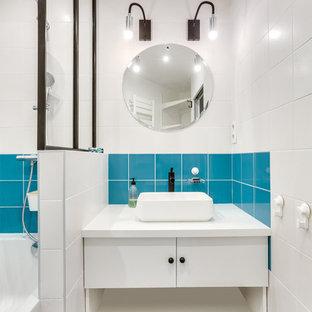 Salle de bain avec carrelage bleu et blanc : Photos et idées déco